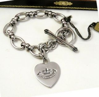 Genuine Juicy Couture Silver Royal Couture Heart Charm Bracelet