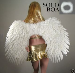 LARGE White Feather Costume Angel Wings Free HALO halloween cosplay