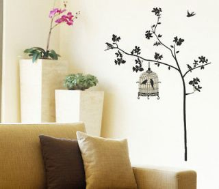 Black Birdcage Tree Removable Wall Sticker Home Decor Decal Art Large