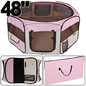 Door Large Pink Playpen Dog Cage Puppy Crate Soft Exercise Kennel