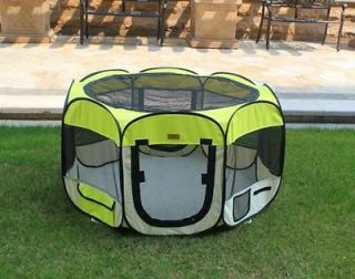 New Small Yellow Pet Dog Cat Tent Playpen Exercise Play Pen Soft Crate