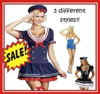 Sailor Captain Womens Sexy Navy Fancy Dress Halloween Costume Outfit