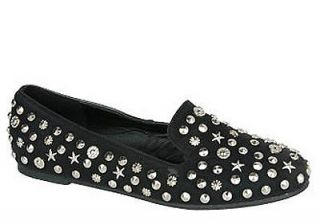 Womens Shoes Spike Studded Loafers Flats Black Blue Camel Red Coral