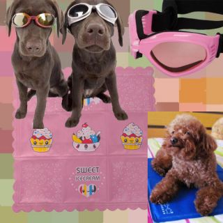 Pet Glasses+ Ice Pad Dog UV Goggles Sun Glasses Pink+Ice Cream Ice Pad