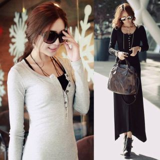 NEW FALL AUTUMN WOMEN CASUAL WORKWEAR BUTTON LONG SLEEVES MAXI DRESS
