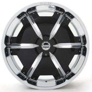 24 PLAYER 815 CHROME Rims+Tires PKG 5x114.3 5x120.65 DODGE CHRYSLER