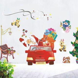 Christmas Santa Claus SLEIGH REINDEER Kids Holiday Instant Art Home