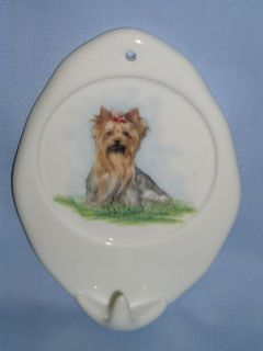 yorkshire terrier dog leash holder porcelain decal