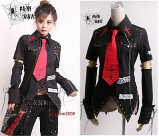 Unisex VISUAL kei PUNK Gothic KERA Lolita shirt top Blouse + Red Tie