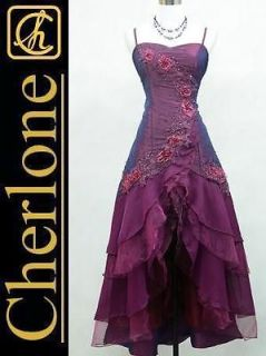 Cherlone Plus Size Satin Dark Purple Lace Ball Gown Wedding/Evenin​g
