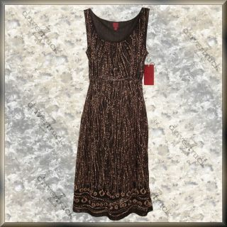 212 COLLECTION New BLACK TAN WHITE Print DRESS MEDIUM 8 or 10