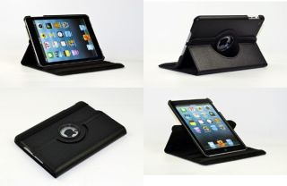 360° Rotating Apple iPad Mini Black Leather Case Cover Screen