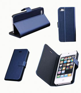 For iPhone 5 PU Leather Flip Case Cute Dark Blue Cover Screen