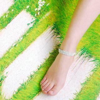 1P 4Line Stretch Clear Anklet Foot Bracelet Czench Rhinestone Silver