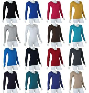 Warm KNIT Long Sleeve Waffle Thermal V neck STRETCH Cotton T shirt Top