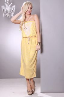 Yellow Stripe Print Strapless Lace Front Sexy Maxi Dress @ Amiclubwear