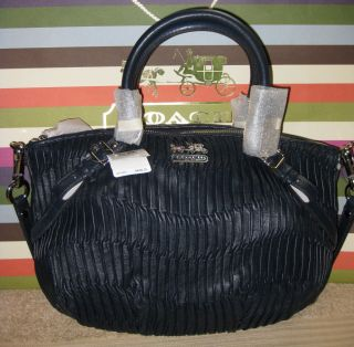 NWT Coach Madison Gathered Leather Sophia Satchel 15942 Midnight