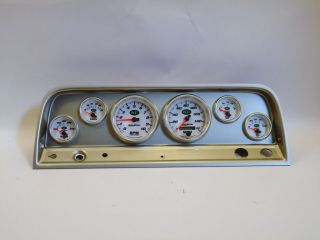65 66 Chevy Truck Silver Dash Carrier Panel w Auto Meter NV Gauges