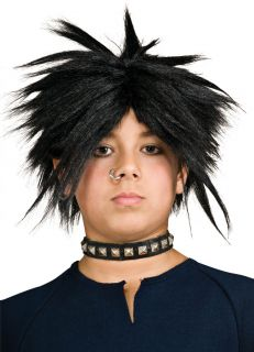 Child 80s Heavy Metal Glam Rock Star Spiked Wig Black Kids Boys Punk