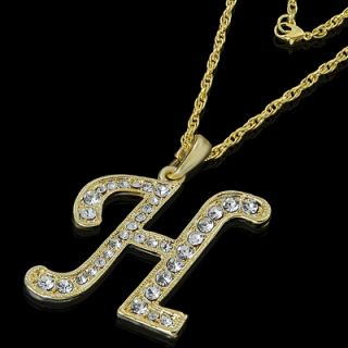 ALPHABET INITIAL LETTER H GOLD PLATED CLEAR CRYSTAL PENDANT CHARM