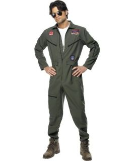 Mens Top Gun Pilot Jumpsuit 80s Fancy Dress Costume Medium Chest 38