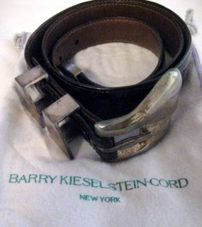 BARRY KIESELSTEIN CORD BLACK ALLIGATOR BELT W/ STERLING SILVER BUCKLE