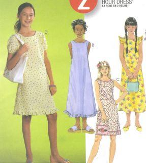 Girls A Line Dress Sewing Pattern Flounce Puff Sleeve Hem Ruffle 2