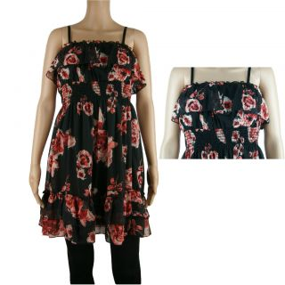 New Plus Size Junior Black Red Chiffon Coral Flower Floral Smocked