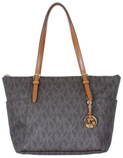 Michael Kors Jet Set E/W Signature Top Zip Tote Logo PVC Brown