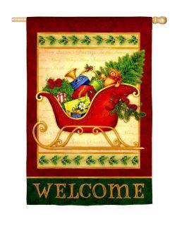 LARGE HOUSE YARD FLAG 28x43 Holiday Sleigh Christmas Season FLAG