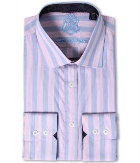 English Laundry Blue and Pink Stripe Dress Shirt w/ Paisley Jacquard