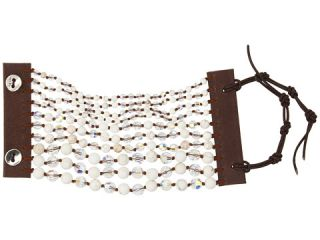 Chan Luu White Opal Crystal Single Bracelet on Beige Leaer $95.00