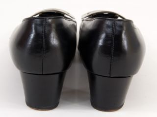 Vtg 60s Mod Customcraft Lord & Taylor Black Low Chunky Cuban Heel