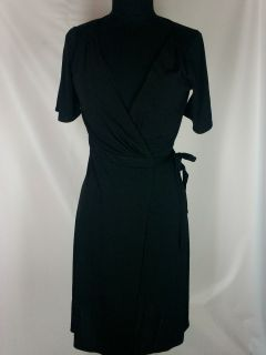 ANN TAYLOR LOFT womens black v cut rayon polyester wrap around dress
