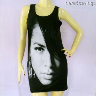 AALIYAH Black Tank Top Urban R B Soul T Shirt SINGLET Hip Hop STAR
