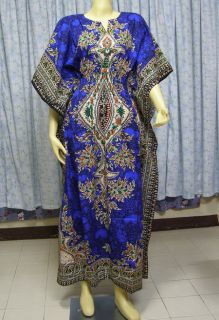 Cotton Dashiki Kaftan African Ethnic Hippy Maxi Dress