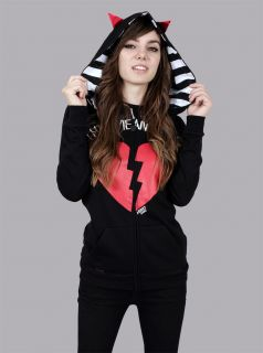ABBEY DAWN AVRIL LAVIGNE THIS MEANS WAR HORN HOODIE NWT S+FREE GIFTS