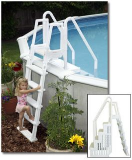 EASY POOL ABOVE GROUND SWIMMING POOL ENTRY STEP w LADDER BY BLUE WAVE