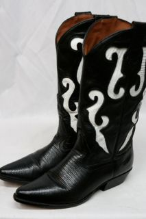 Vintage Nine 9 West Black White Leather Western Cowboy Boots Womens 8