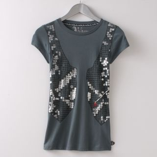Abbey Dawn Avril Lavigne Sequin Vest Tee T Shirt RARE
