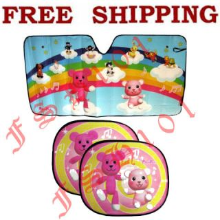 Japanese Cartoon Pink Bear Post Pet Folding Sun Shade