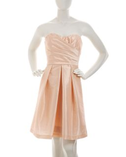 ABS by Allen Schwartz Strapless Taffeta Dress Peach