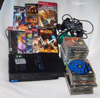 Sony PlayStation 2 Console System Huge Lot Games 3 Memory Cards PS2