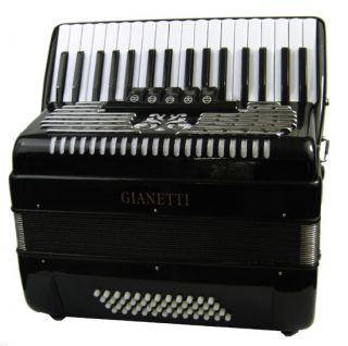 Black Piano Accordion w Case Strap 48 Bass 34 Key