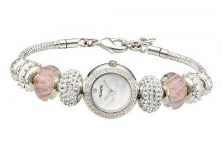 Accurist Ladies Charmed Pretty In Pink Silver Plated Bead Bracelet