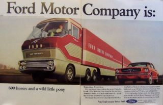 1965 Ford Motor Mustang Super Hauler Horses 2 Page Ad