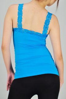 Seamless Lace Strap Active Sports Fitted Camis Tank Top Slim Solid