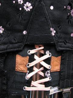 Amazing 1950s Vintage Himana Corset Girdle Bottom Black Pink Brocade