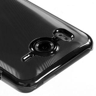 Black Brushed Metal Aluminum Acrylic Hard Case Cover Slim Fit for HTC