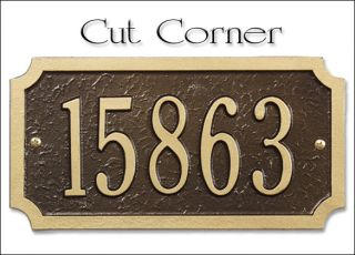 Whitehall Cut Corner Address Plaque Marker Sign New 17 Color Choices